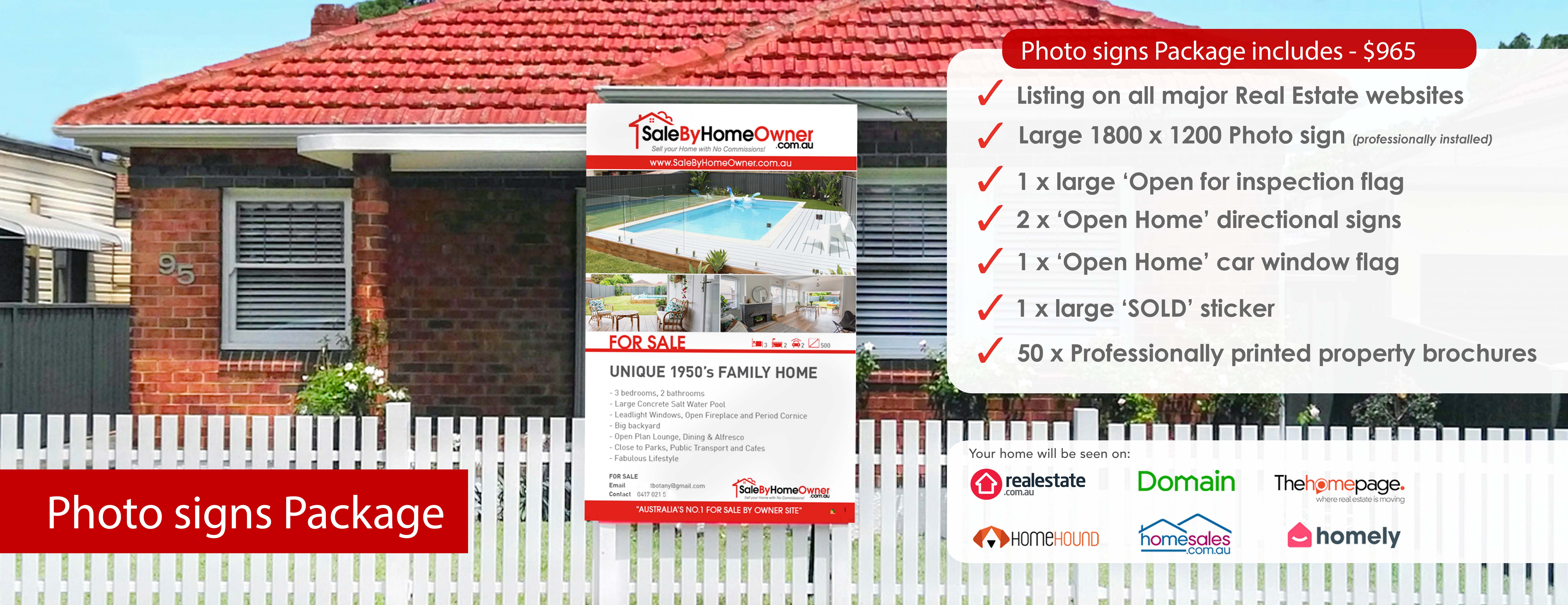 selling my home privately in Australia with photo signs